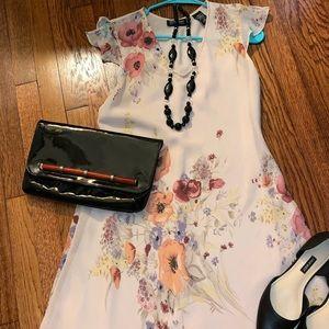 NY&Co Flutter Sleeve & Bottom Ruffle Dress
